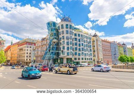 Prague, Czech Republic, May 13, 2019: Dancing House Observation Deck, Nationale Nederlanden Building