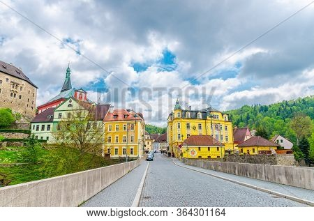 Loket, Czech Republic, May 12, 2019: Bridge Over Eger River, Town With Loket Castle Hrad Loket Gothi