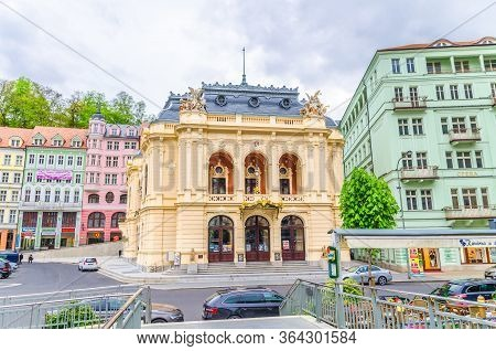Karlovy Vary, Czech Republic, May 9, 2019: Municipal Theatre Neo-baroque Building At Theatre Square