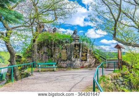 Karlovy Vary, Czech Republic, May 10, 2019: Peter The Great Bust Monument On A Rock Peter Height Loo
