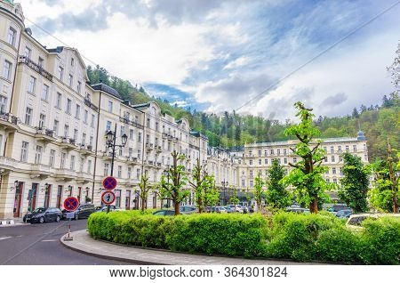 Karlovy Vary, Czech Republic, May 11, 2019: Grandhotel Pupp Building In Carlsbad Historical City Cen