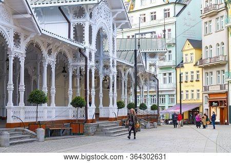 Karlovy Vary, Czech Republic, May 10, 2019: The Market Colonnade Trzni Kolonada Wooden Colonnade Wit