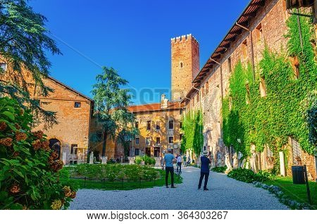 Vicenza, Italy, September 12, 2019: Teatro Olimpico Olympic Theatre Courtyard, Brick Walls With Gree
