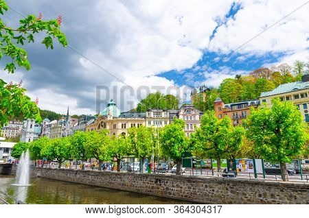 Karlovy Vary, Czech Republic, May 10, 2019: Carlsbad Historical City Centre With Tepla River Central