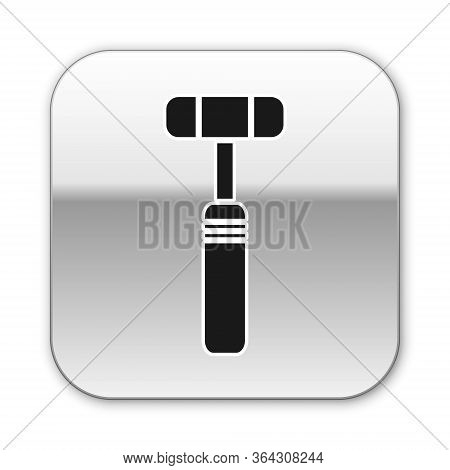 Black Neurology Reflex Hammer Icon Isolated On White Background. Silver Square Button. Vector Illust
