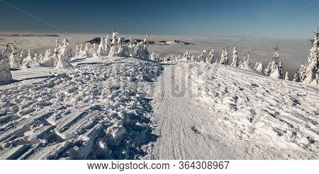 Winter Scenery Bellow Lysa Hora Hill In Moravskoslezske Beskydy Mountains In Czech Republic With Sno