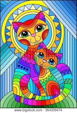 Illustration In Stained Glass Style With A Bright Rainbow Cat And Kitten On The Background Of An Abs