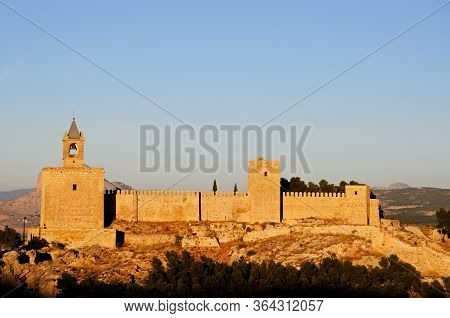 Castle Fortress In The Late Afternoon Sun, Antequera, Malaga Province, Andalucia, Spain, Western Eur