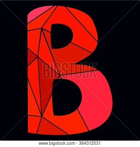 B Red Alphabet Vector Letter Isolated On Black Background