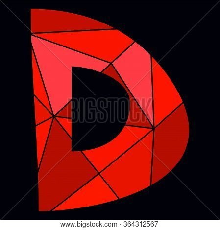 D Red Alphabet Vector Letter Isolated On Black Background