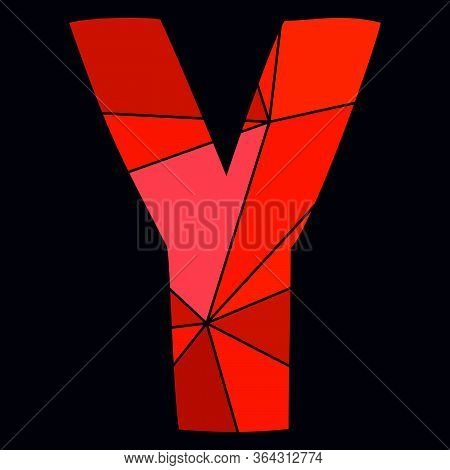 Y Red Alphabet Vector Letter Isolated On Black Background