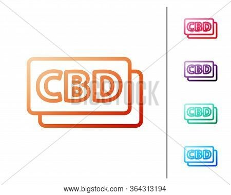 Red Line Cannabis Molecule Icon Isolated On White Background. Cannabidiol Molecular Structures, Thc