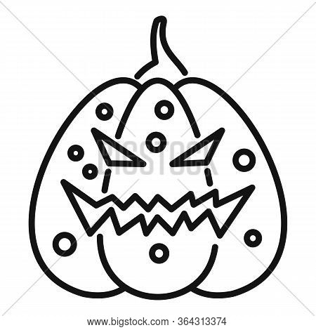 Evil Pumpkin Icon. Outline Evil Pumpkin Vector Icon For Web Design Isolated On White Background
