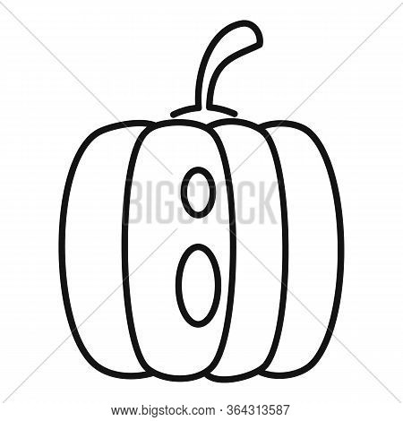 Fear Pumpkin Icon. Outline Fear Pumpkin Vector Icon For Web Design Isolated On White Background