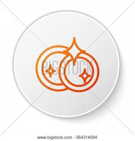 Orange Line Washing Dishes Icon Isolated On White Background. Cleaning Dishes Icon. Dishwasher Sign.