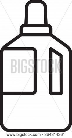 Black Line Fabric Softener Icon Isolated On White Background. Liquid Laundry Detergent, Conditioner,
