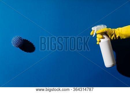 Spray To Cleaning And Disinfection Virus, Covid-19, Coronavirus Disease, Preventive Measures. Sanita