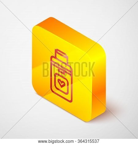 Isometric Line Cooler Box For Human Organs Transportation Icon Isolated On Grey Background. Organ Tr