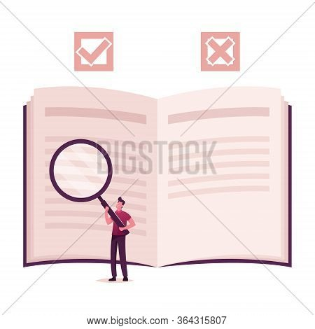 Businessman Character With Magnifier Looking At Huge Open Book. Business Process Flow Chart, Rules A