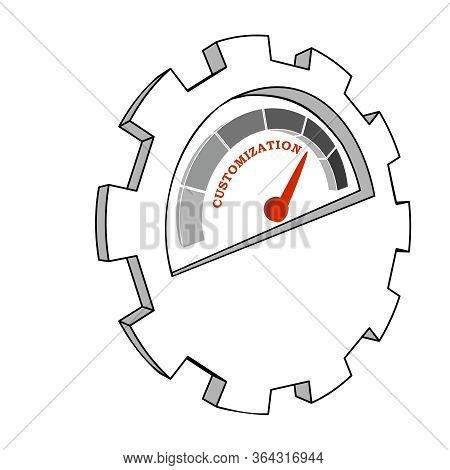 Scale With Arrow. The Customization Level Measuring Device Icon. Sign Tachometer, Speedometer, Indic