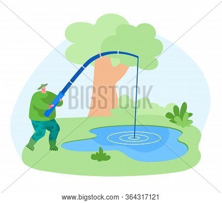 Fisherman Character With Rod Catching Fish In Pond. Fishing Outdoor Relaxing Summertime Hobby. Fishm