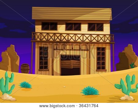 illustration of wooden house with dark blue background