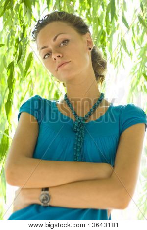 Beautiful Woman Near Willow