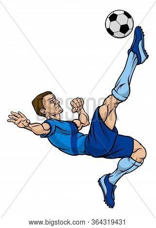 A Football Soccer Player Cartoon Character Kicking The Ball