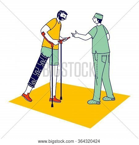 Rehabilitation Disabled Physiotherapy. Correction Of Lost Physical Abilities Body With Help Therapeu