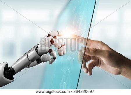 Futuristic Robot Artificial Intelligence Concept.