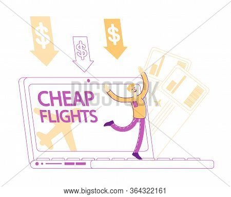 Happy Tourist Male Character Rejoice At Huge Laptop Screen For Buying Cheap Ticket On Airplane Fligh