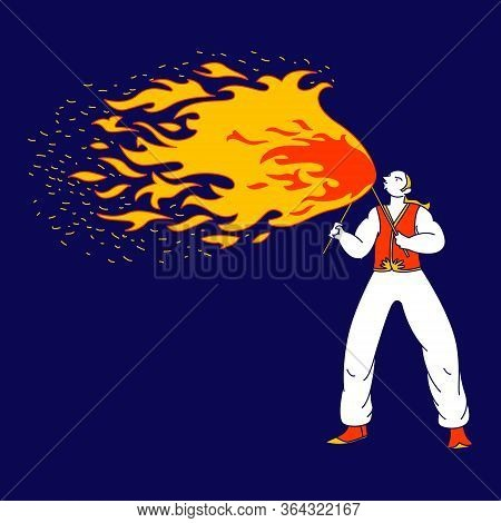 Young Man Fakir Character Dancing And Juggling With Fire On Stage Performing Talent Show Program For
