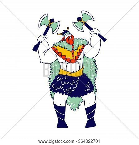 Viking, Scandinavian Warrior Male Character With Tressed Beard Wear Skin And Helmet With Horns Holdi