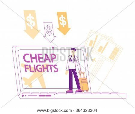 Cheap Flight, Low Cost Airline Offer, Profitable Promotion Concept. Tine Male Character Tourist With