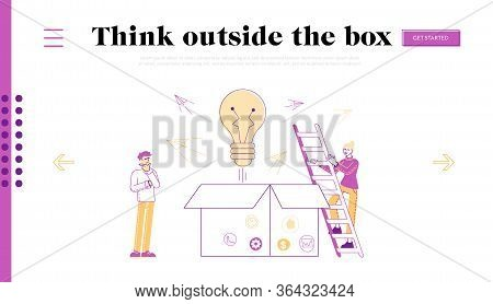 Thinking Outside, Innovations Landing Page Template.male Character Stand Front Of Huge Open Carton B