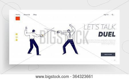 Opponents Fighting On Swords Landing Page Template. Male Characters Wearing Aristocrat Dress Fencing
