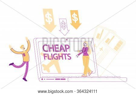Cheap Flight, Economy Travel, Special Offer. Tiny Male And Female Characters Buying Airplane Tickets