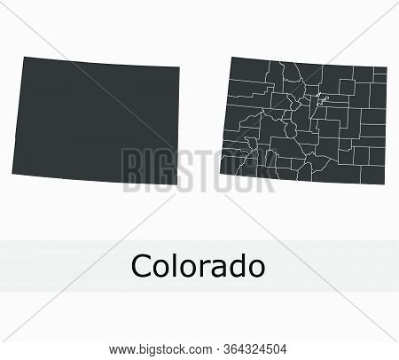 Colorado Maps Vector Outline Counties, Townships, Regions, Municipalities, Departments, Borders