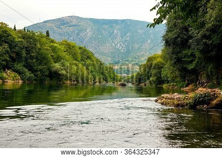 Mostar, Bosnia And Herzegovina. Gorgeous Landscape. View Of The Netherva River