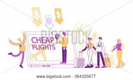Cheap Flight And Saving Vacation Budget Concept. Male And Female Characters Buying Airplane Tickets