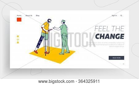Disabled Physiotherapy Landing Page Template. Correction Of Lost Physical Abilities With Therapeutic