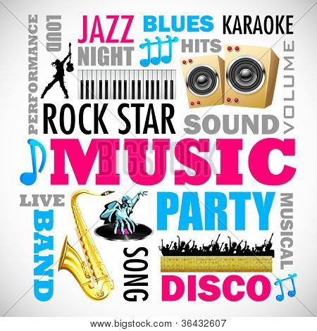 illustration of music word cloud with related object