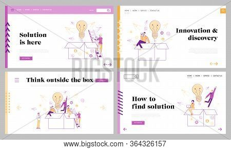 Thinking Outside, Innovations Landing Page Template Set. Characters Stand Front Of Huge Open Carton