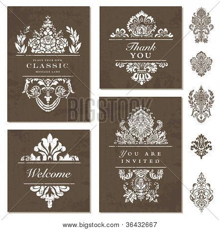 Vector Victorian Frame Set. Easy to edit. Perfect for invitations or announcements.