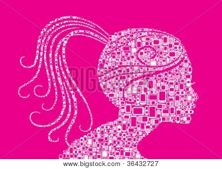 Profile woman silhouette of woman made with Cellphones and Smartphones in magenta background
