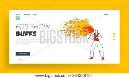 Flame Entertainment, Street Fair, Circus Amusement Landing Page Template. Young Man Fakir Character