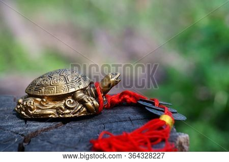 Metal Turtle On A Wooden Surface. Symbol Of Feng Shui. A Symbol Of A Stable Profit.