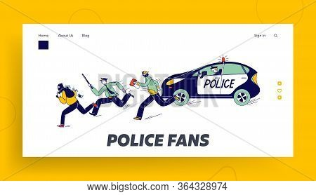 Policemen Pursuit Robber On Duty Landing Page Template. Police Officer Characters At Catching Up Thi