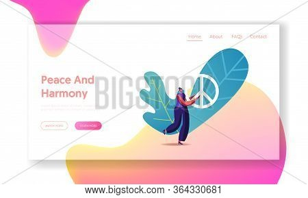 Stop War Pacific Landing Page Template. Tiny Female Character Carry Huge Peace Symbol. Hippie Or Pac