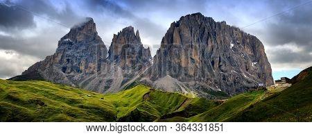 Sassolungo & Sassopiatto Mountain Ranges As Seen From Passo Sella On A Cloudy Afternoon, Dolomites,
